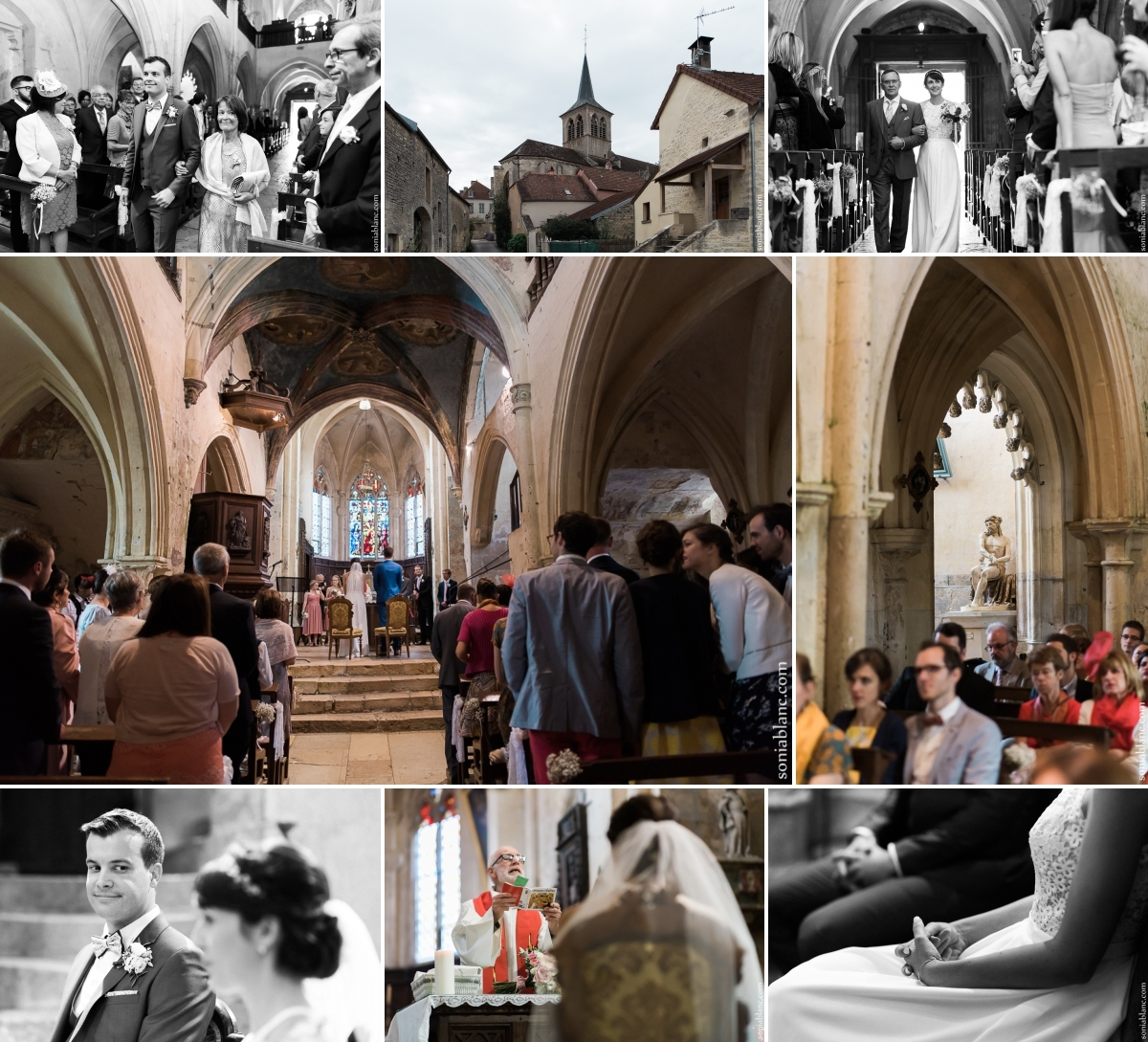 9. cérémonie religieuse - Mariage à Flavigny sur Ozerain - château de Thenissey - bourgogne