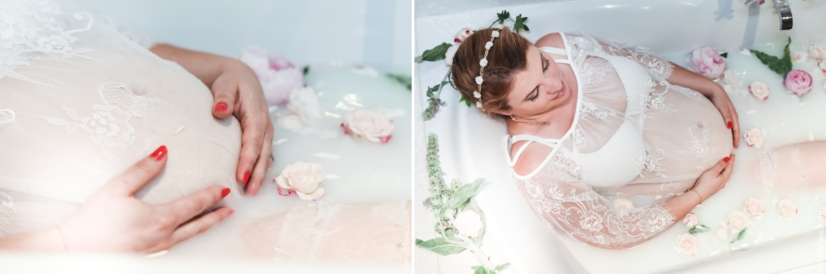 seance photo maternite - fixin - bourgogne - bain de lait