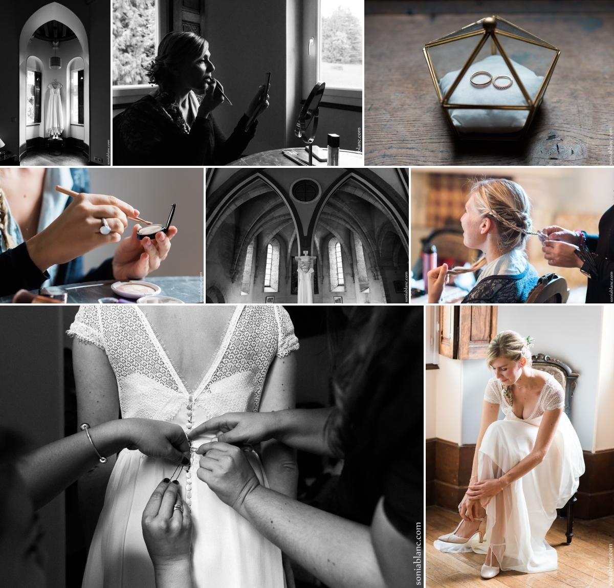 1. photographe de mariage - les preparatifs de la mariée au prieuré de bonvaux à plombieres les dijon